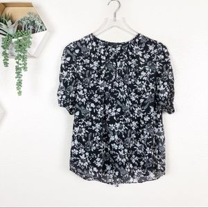 J crew floral ruched sleeve top black white birds
